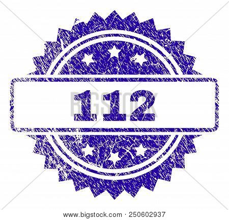 112 Stamp Watermark With Corroded Style. Blue Vector Rubber Seal Print Of 112 Caption With Corroded