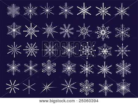 Collection of 35 decorative snowflakes. Vector illustration