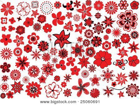 100 vector flowers ? red-and-black design elements
