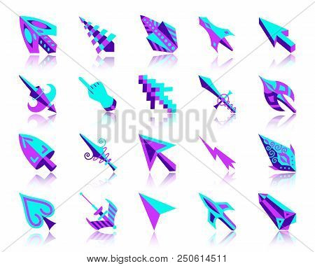 Mouse Cursor Flat Icons Set. Web Vector Sign Kit Of Arrow. Click Pictogram Collection Includes Finge