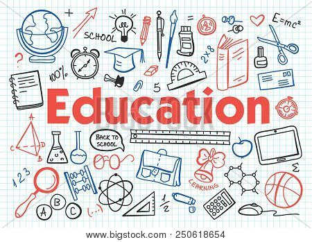 Hand Drawn Design Vector Illustration, Set Of Education, Education Process, Learning In Educational