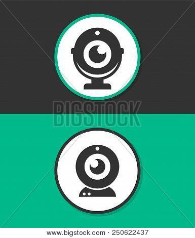 Webcam vector icon. Camera chat symbol. Simple flat vector icon. poster