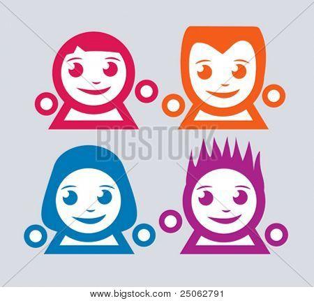 set of 4 funny emoticons