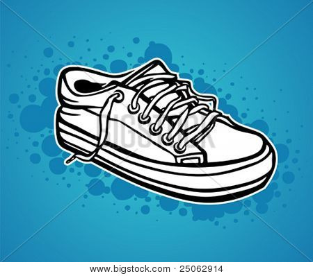 a hand-drawn sneaker on a spotted background