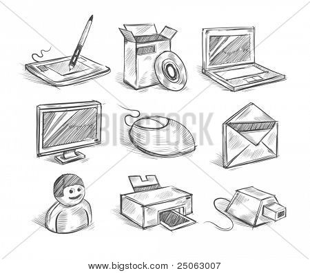 Hand drawn computer icons. Vector illustration.