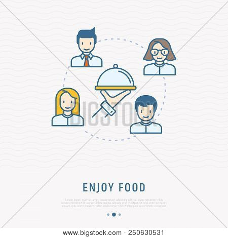 Food Delivery Concept: Hand With Dish And People Around Thin Line Icons. Modern Vector Illustration