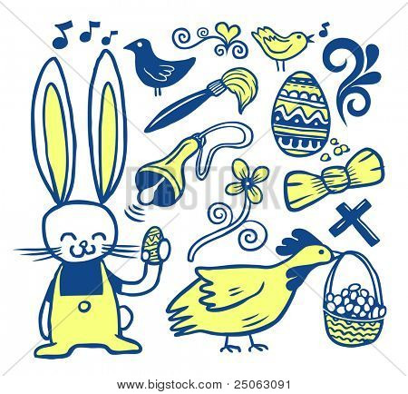 Easter doodles collection. Hand-drawn.