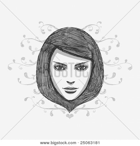Hand-drawn fashion model potrait.