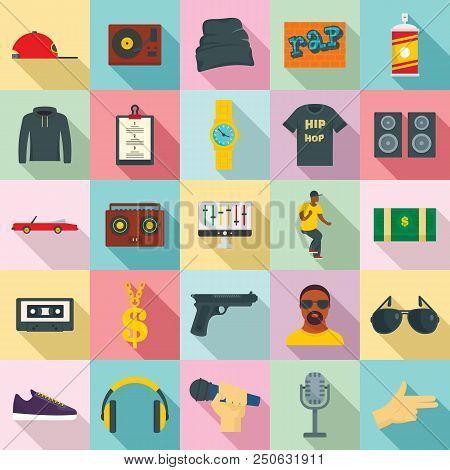 Hiphop Rap Swag Music Dance Icons Set. Flat Illustration Of 25 Hiphop Rap Swag Music Dance Vector Ic