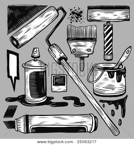 Hand-drawn graffiti materials. Vector illustration.