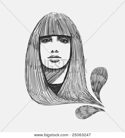 Hand-drawn model portrait.