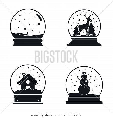 Snow Globe Ball Christmas Winter Icons Set. Simple Illustration Of 16 Snow Globe Ball Christmas Wint