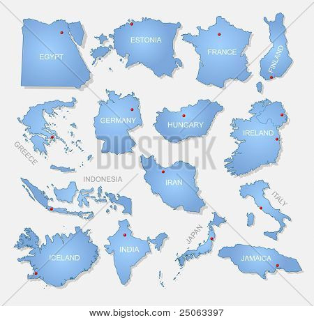 Detailed countries collection. Vector illustration.