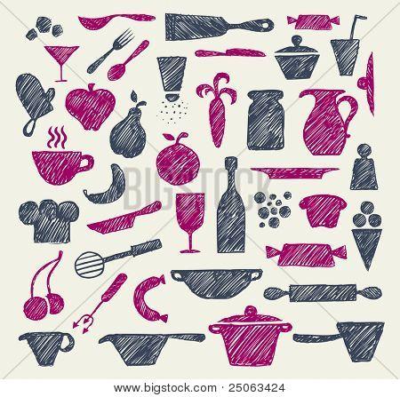 Hand-drawn kitchen supplies. Vector illustration.