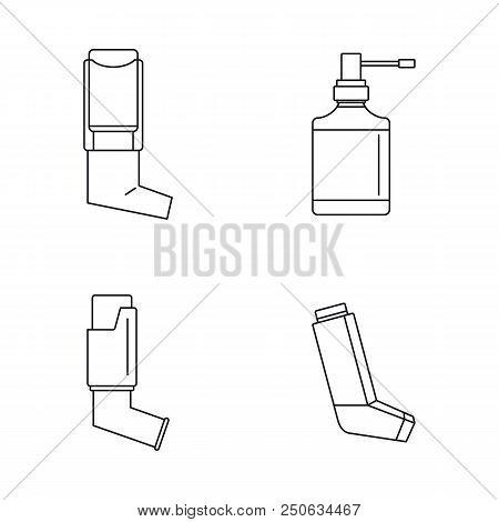 Inhaler Breather Deep Breath Health Care Asthma Icons Set. Outline Illustration Of 4 Inhaler Breathe