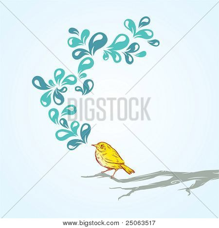 Hand-drawn singing bird. Vector illustration. poster