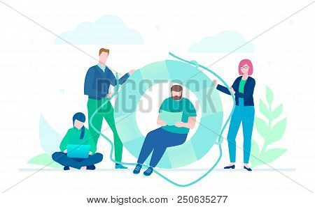 Business cooperation - flat design style illustration on white background. A metaphorical composition with a lifeline. Colleagues working together on a project. Teamwork, mutual help concept poster