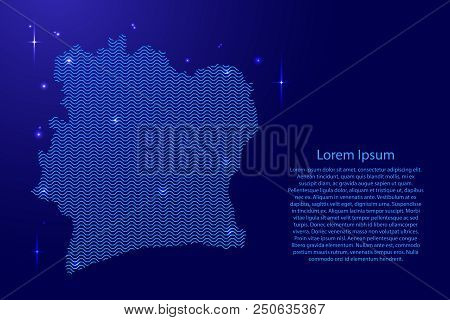 Ivory Coast map country abstract silhouette from wavy blue space sinusoid lines and glowing stars. Contour state of creative luminescence curve. Vector illustration. poster