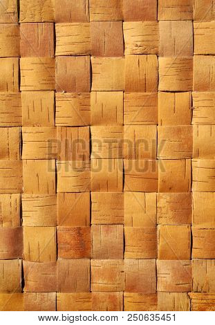 Natural Wattled Textured Background, Birch Material Close- Up