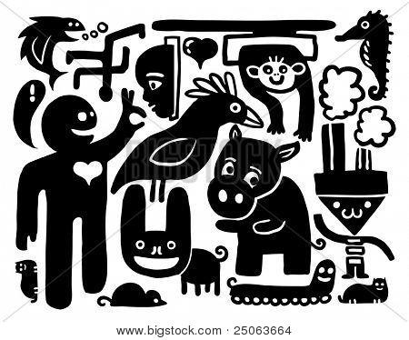 Doodles drawing. Vector illustration.
