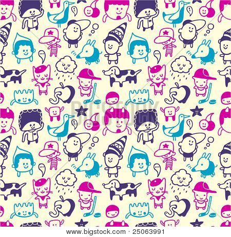 Funny creatures collection. Seamless pattern. Vector illustration.