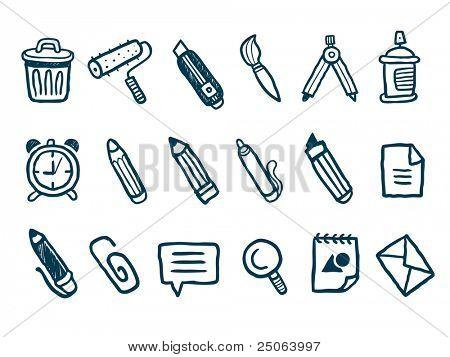 Stationery icons set. Vector illustration.