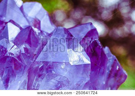 Crystal Stone Macro Mineral Surface, Purple Rough Amethyst Quartz Crystals