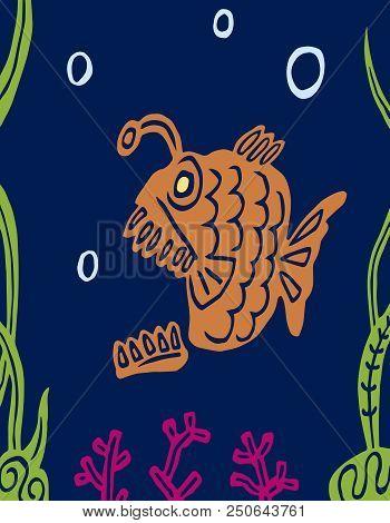 Cartoon Carnivorous Predatory Fat Fish. Lophius Piscatorius. Undersea Nature. Vector Graphics.