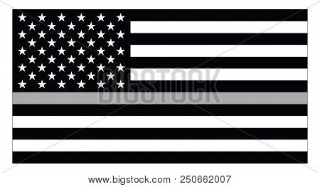 United States Of America Flag With Thin Silver Line Represts Us Corrections