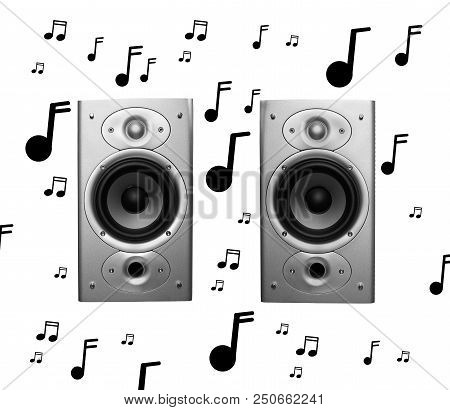 Pair Of Stereo Speakers With Musical Notes Isolated On White Background