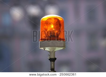 Siren For Alert. Flashing Lights In Red . Electric Emergency Light