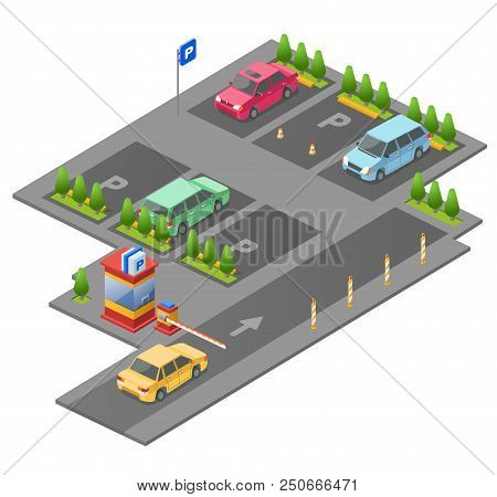 Parking Lot Isometric 3d Illustration For Construction Design. Isolated Section Outdoor Parking And