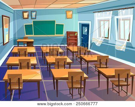 School Classroom Interior Cartoon Illustration. University Schoolroom Design With View On Blackboard