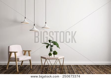 Modern Living Room Interior With Furniture, Decorative Plant, Lamps, Concrete Wall And Wooden Floor.