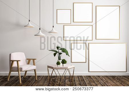 Modern Living Room Interior With Furniture, Decorative Plant, Lamps, Empty Banners Concrete Wall And