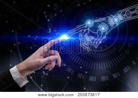 Digital Business Hands Pointing At Abstract Blue Cyberspace Background. Artificial Intelligence And