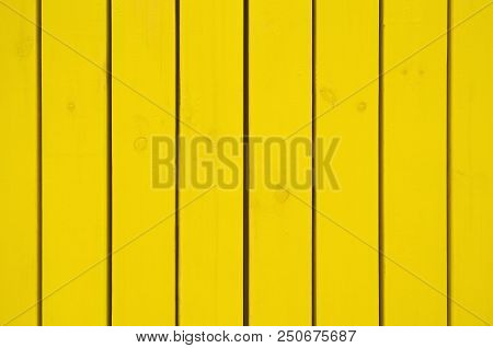 Pine Boards Painted In Yellow Color To Protect Against External Influences And Wood Beetle Pests. Us