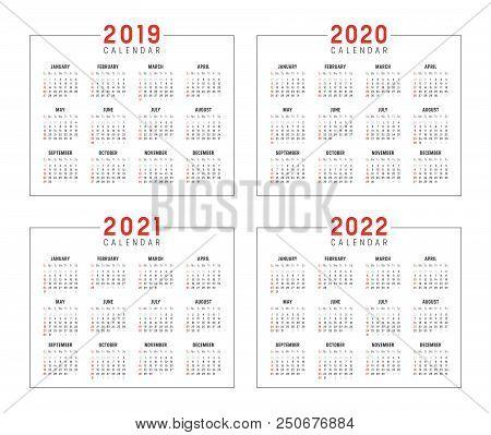 Set Of Minimalist Calendars, Years 2019 2020 2021 2022, Weeks Start Sunday, On White Background - Ve
