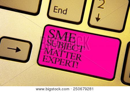 Word Writing Text Sme Subject Matter Expert. Business Concept For Authority In A Particular Area Or