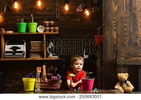 Planting Concept. Little Boy With Gardening Tools For Planting. Planting A Flower In Pot. Hand Plant