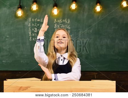 Answer. I Know The Answer. Answer To Any Question. Girl Hold Raised Hand Because She Knows The Answe