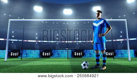 Young Soccer Player With Ball In Front Of The Goal On A Professional 3d Stadium
