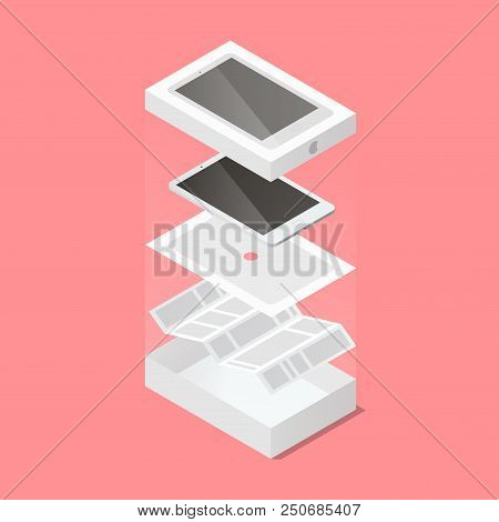 Vector Isometric Illustration Of Unpacking New Tablet. Opened Box, Tablet, Substrate And Paper Instr