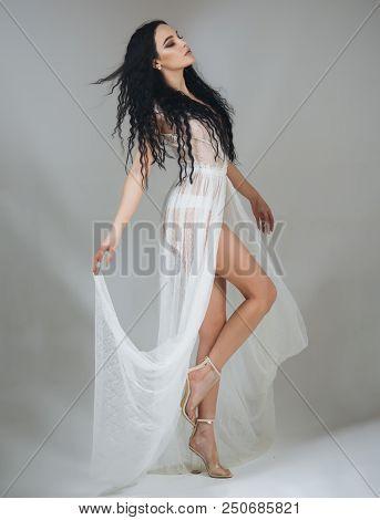 Night Dress. Getting Ready For Night. Beautiful White Dress For Girl. Woman In White Night Dress. Ni