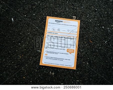 Paris, France - Jul 3, 2018: Amazon Logistics Info Passing Notice With Direction How To Get The Pack