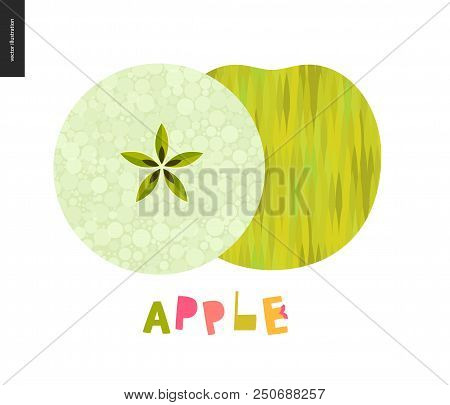 Food Patterns, Apple - Fruit, Vector Flat Illustration Of Green Apple Half - White Pulp With Seeds,