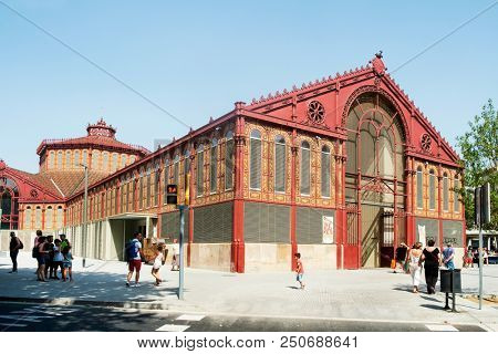 BARCELONA, SPAIN - JULY 15, 2018: A view of the facade of the Mercat de Sant Antoni public market in Barcelona, Spain