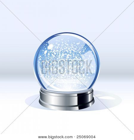 Vector snow-dome or crystal ball. Insert your own object. Remove or reduce snowflakes if needed
