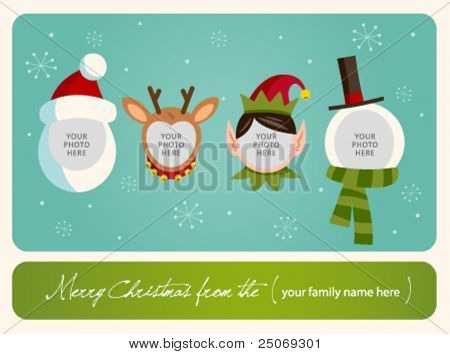 Family spirit Christmas card. Place your photos on christmas characters.