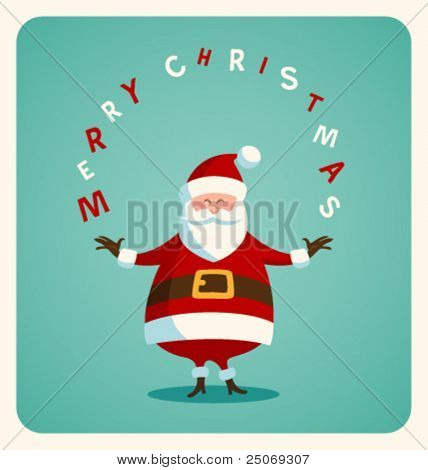 Christmas card with Santa. Vector. Editable.